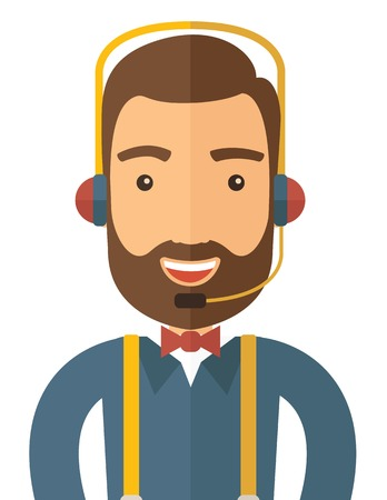 Illustration pour An operator man with headset customer service helpdesk service. Call center concept. A contemporary style. Vector flat design illustration with isolated white background. Vertical layout. - image libre de droit