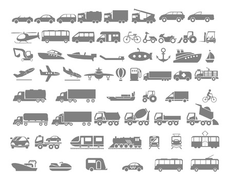 Vehicle and Transportation flat icon set. Vector flat design illustration.