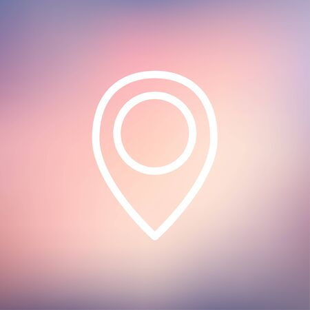 Illustration pour Map pointer icon thin line for web and mobile, modern minimalistic flat design. Vector white icon on gradient mesh background. - image libre de droit