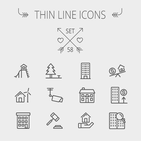 Real estate thin line icon set for web and mobile. Set includes- pine tree, antenna, gavel, playhouse, windmill, buildings icons. Modern minimalistic flat design. Vector dark grey icon on light grey background.