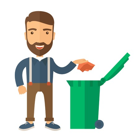 A caucasian man throwing a crumpled paper in a green garbage bin. A Contemporary style. Vector flat design illustration isolated white background. Square layout