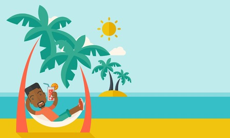 Illustration for A young black guy on the beach relaxing and drinking cocktail under the heat of the sun with two coconut tree. A contemporary style with pastel palette blue tinted background with desaturated clouds. Vector flat design illustration. Horizontal layout with - Royalty Free Image