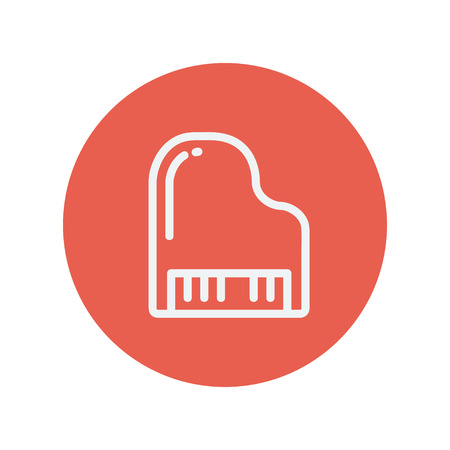 Piano thin line icon for web and mobile minimalistic flat design. Vector white icon inside the red circle
