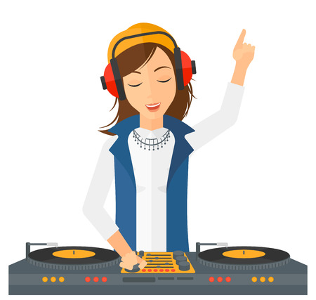 Illustration for A DJ in eadphones with hand up playing music on turntable vector flat design illustration isolated on white background. - Royalty Free Image