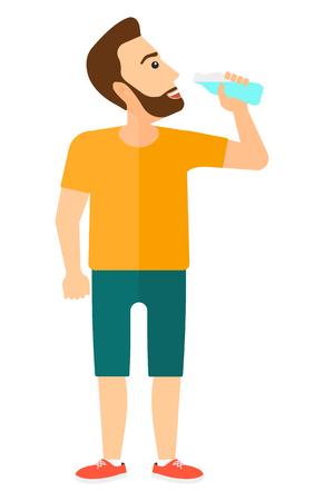 Vektor für A sportive man drinking water vector flat design illustration isolated on white background. Vertical layout. - Lizenzfreies Bild