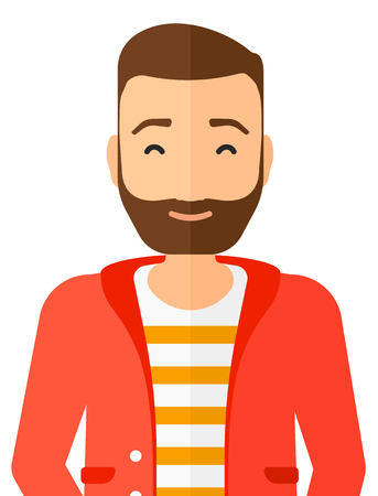 Pleased man with his eyes closed vector flat design illustration isolated on white background. Vertical layout.