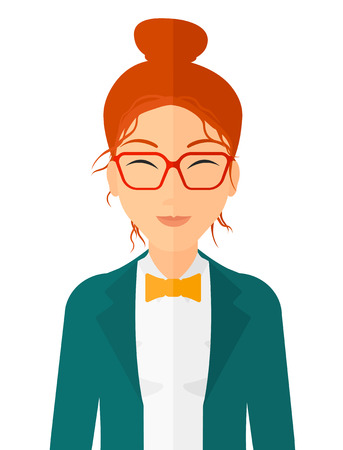 Pleased woman with her eyes closed vector flat design illustration isolated on white background. Vertical layout.