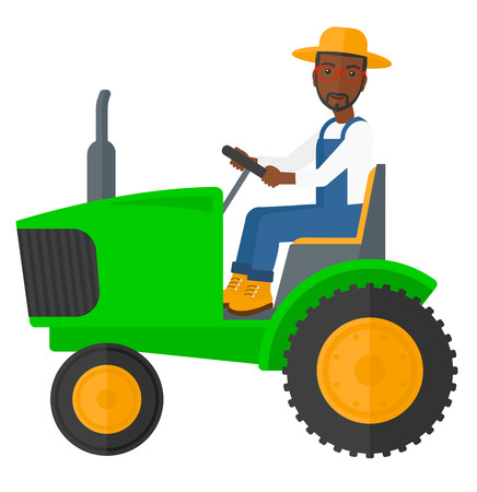 Illustration pour An african-american farmer driving a tractor vector flat design illustration isolated on white background. - image libre de droit