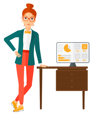 Ilustración de A woman leaning on a table with a computer monitor in office vector flat design illustration isolated on white background. - Imagen libre de derechos