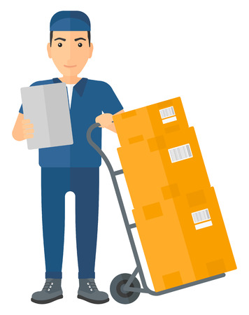 Illustration pour A delivery man standing near cart with boxes and holding a file in a hand vector flat design illustration isolated on white background. - image libre de droit