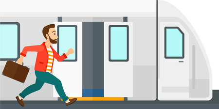Illustration pour Latecomer man running along the platform to reach the train vector flat design illustration isolated on white background. - image libre de droit