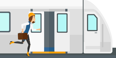 Illustration pour Latecomer woman running along the platform to reach the train vector flat design illustration isolated on white background. - image libre de droit