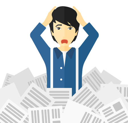 Illustration pour An asian man clutching his head because of having a lot of work to do with a heap of newspapers in front of him vector flat design illustration isolated on white background. - image libre de droit