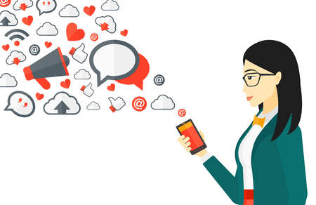 Illustration pour An asian woman using smartphone with lots of social media application icons flying out vector flat design illustration isolated on white background. - image libre de droit