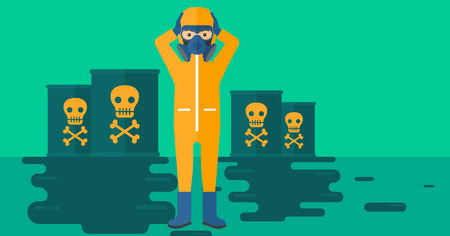 Illustration pour A man in protective chemical suit clutching his head while standing in polluted water with radioactive barrel vector flat design illustration. Horizpntal layout. - image libre de droit