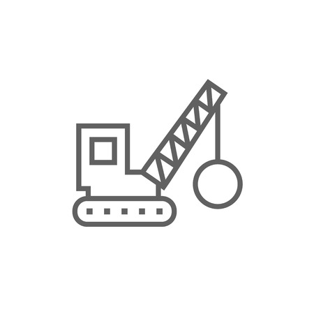Illustration for Demolition trailer thick line icon with pointed corners and edges for web, mobile and infographics. Vector isolated icon. - Royalty Free Image