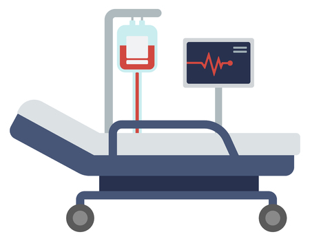 Illustration for Hospital bed with medical equipments vector flat design illustration isolated on white background. - Royalty Free Image