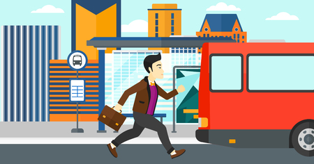 Illustration pour An asian man running along the sidewalk to reach the bus on the background of bus stop with skyscrapers behind vector flat design illustration. Horizontal layout. - image libre de droit