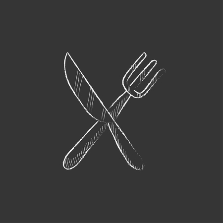 Illustration pour Crossed  knife and fork. Hand drawn in chalk vector isolated icon for web, mobile and infographics. - image libre de droit
