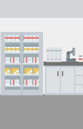 Background of laboratory interior vector flat design illustration. Vertical layout.