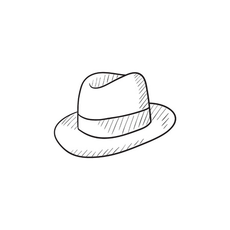 Illustration for Fedora hat sketch icon for web, mobile and infographics. Hand drawn fedora hat icon. Fedora hat vector icon. Fedora hat icon isolated on white background. - Royalty Free Image