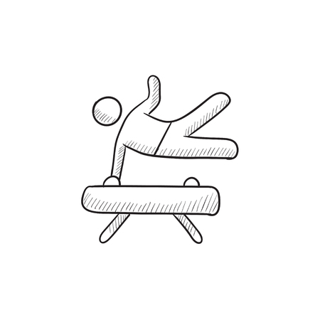 Gymnast exercising on pommel horse vector sketch icon isolated on background. Hand drawn Gymnast exercising on pommel horse icon. Gymnast on pommel horse sketch icon for infographic, website or app.