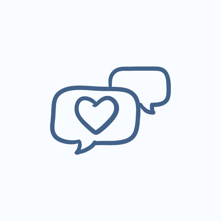 Heart in speech bubble vector sketch icon isolated on