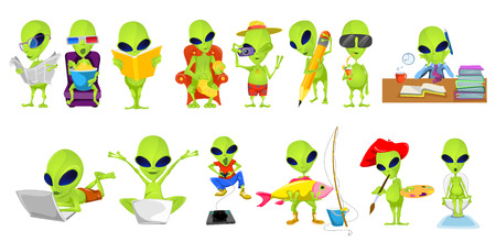 Ilustración de Set of green aliens engaged in such hobbies and interests as reading, watching movie, knitting, photographing, drawing, playing video game, fishing. Vector illustration isolated on white background. - Imagen libre de derechos