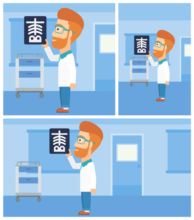 Hipster doctor with the beard looking at a skeleton radiograph in the medical office. Vector flat design Illustration. Square, horizontal, vertical layouts.