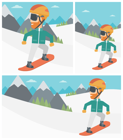 A hipster man with the beard snowboarding on the background of snow capped mountain. Young man snowboarding in the mountains. Vector flat design illustration. Square, horizontal, vertical layouts.