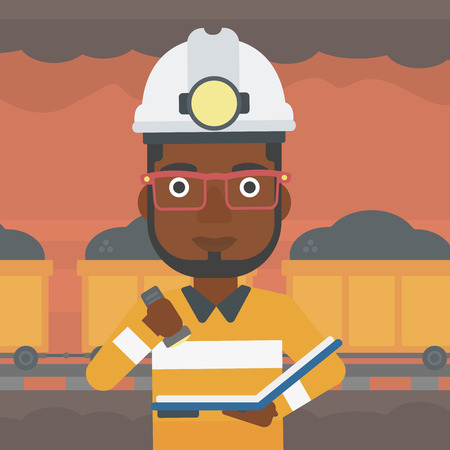 Illustration pour An african-american miner checking documents with the flashlight. Mine worker in hard hat on the background of mining tunnel with cart full of coal. Vector flat design illustration. Square layout. - image libre de droit