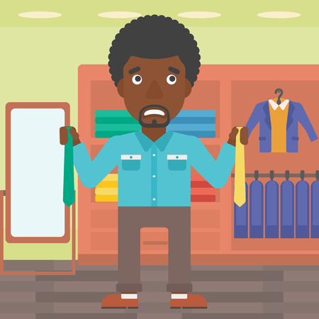 Illustration for An african-american man holding two neckties and trying to choose the best one. Customer choosing necktie at clothing store. Vector flat design illustration. Square layout. - Royalty Free Image