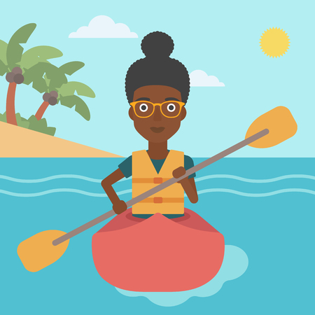 An african-american sports woman riding in a kayak in the sea. Young woman traveling by kayak. Female kayaker paddling. Woman paddling a canoe. Vector flat design illustration. Square layout.