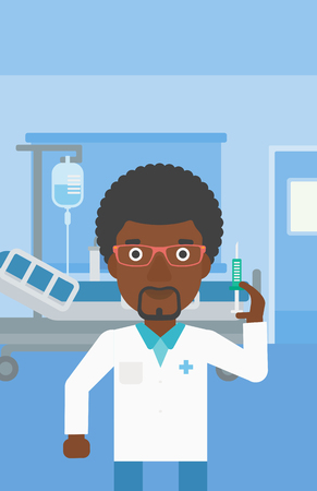 An african-american doctor with the beard holding medical injection syringe on the background of hospital ward. Vector flat design illustration. Vertical layout.
