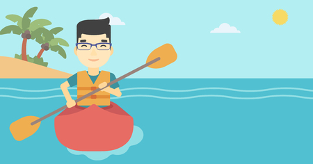 An asian sportsman riding in a kayak in the sea. Young man traveling by kayak. Male kayaker paddling. Man paddling a canoe. Vector flat design illustration. Horizontal layout.