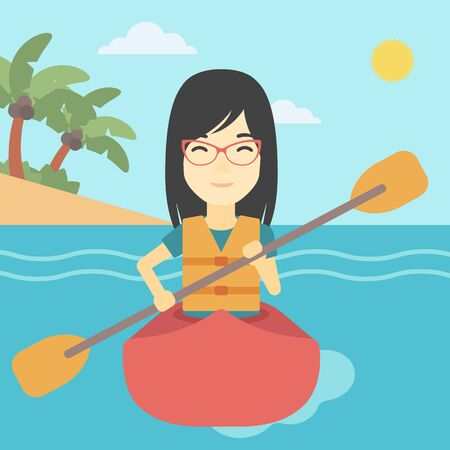 An asian sports woman riding in a kayak in the sea. Young woman traveling by kayak. Female kayaker paddling. Woman paddling a canoe. Vector flat design illustration. Square layout.