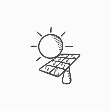 Solar energy vector sketch icon isolated on background  Hand