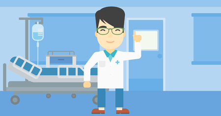 An asian doctor in medical gown showing finger up. Doctor with finger up in the hospital ward. Man in doctor uniform pointing finger up. Vector flat design illustration. Horizontal layout.