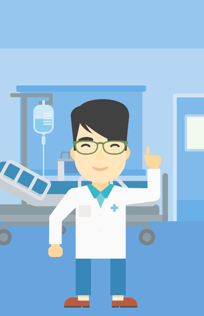 An asian doctor in medical gown showing finger up. Doctor with finger up in the hospital ward. Man in doctor uniform pointing finger up. Vector flat design illustration. Vertical layout.