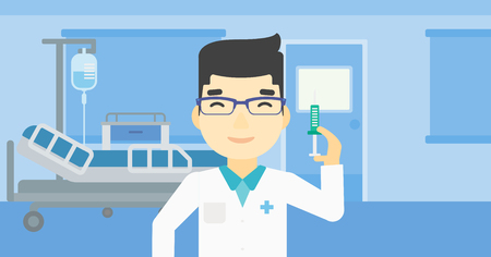 An asian male doctor holding medical injection syringe. Doctor with syringe in hospital ward. Doctor holding a syringe ready for injection. Vector flat design illustration. Horizontal layout.