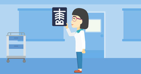 An asian female doctor examining a radiograph. Doctor looking at a chest radiograph in the medical office. Doctor observing a skeleton radiograph. Vector flat design illustration. Horizontal layout.