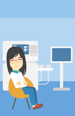 An asian female ultrasound doctor sitting with arms crossed. Female doctor sitting near modern ultrasound equipment at medical office. Vector flat design illustration. Vertical layout.