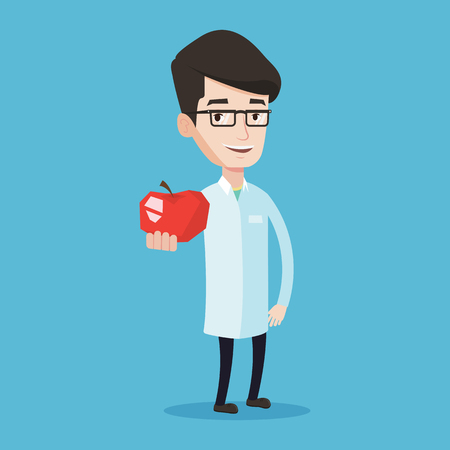 Illustration pour Young caucasian doctor prescribing diet and healthy eating. Smiling confident male nutritionist holding an apple. Doctor offering fresh red apple. Vector flat design illustration. Square layout. - image libre de droit