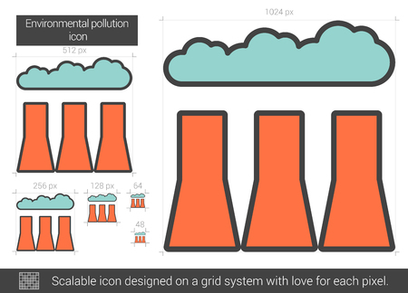 Illustration pour Environmental pollution vector line icon isolated on white background. Environmental pollution line icon for infographic, website or app. Scalable icon designed on a grid system. - image libre de droit
