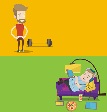 Two lifestyle banners with space for text. Vector flat design. Horizontal layout. Young man measuring his waistline with a tape. Man measuring with tape the abdomen. Happy man with tape on a waist.