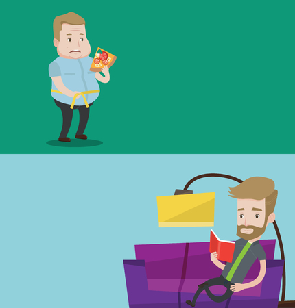 Two lifestyle banners with space for text. Vector flat design. Horizontal layout. Fat man with slice of pizza measuring waistline with tape. Plump man measuring with tape waistline and eating pizza.