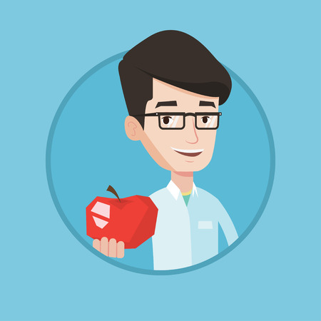 Illustration pour Young caucasian nutritionist prescribing diet and healthy eating. Nutritionist holding an apple. Nutritionist offering an apple. Vector flat design illustration in the circle isolated on background. - image libre de droit