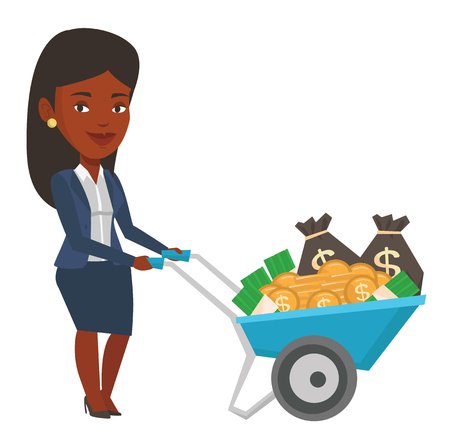 Illustration for Businesswoman with wheelbarrow full of money. Businesswoman pushing wheelbarrow full of money. Wealthy businesswoman transporting money. Vector flat design illustration isolated on white background. - Royalty Free Image
