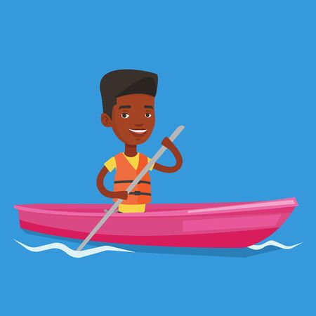 Man riding in kayak vector illustration.