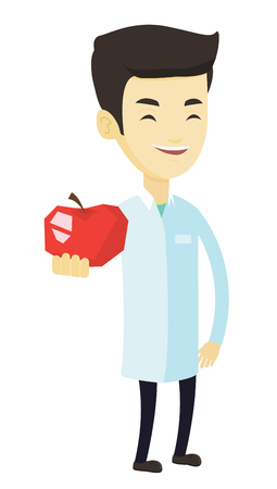Illustration pour Young asian nutritionist prescribing diet and healthy eating. Smiling nutritionist holding an apple. Nutritionist offering fresh red apple. Vector flat design illustration isolated on white background - image libre de droit